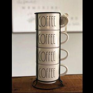 Rae Dunn Coffee Stackable Mug set of 4 and holder